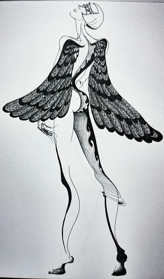 ink on paper fashion drawing