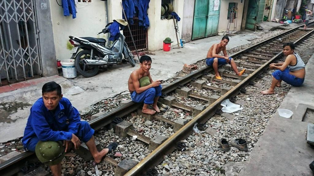 workers taking a break in vietnam